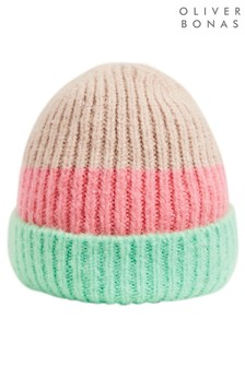 Oliver Bonas Green Striped Block Knitted Hat