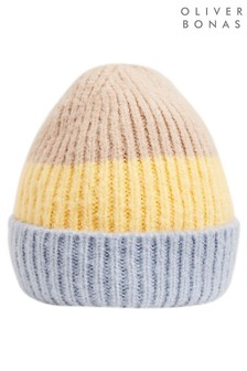 Oliver Bonas Blue Striped Block Knitted Beanie Hat