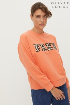Oliver Bonas Orange Free Animal Print Appliqué Sweatshirt