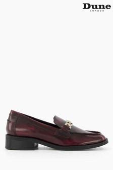 Dune London Red Grateful Plaited Saddle Block Heel Loafers