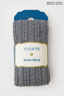 White Stuff Grey Cable Heart Tights