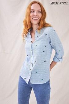 White Stuff Blue Denim Acorn Embroidered Shirt