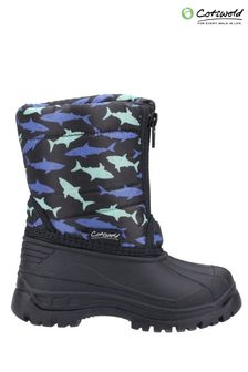 Cotswold Younger Boys Black Iceberg Zip Snow Boots