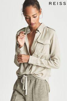 Reiss Leah Cotton Blend Twin Pocket Shirt