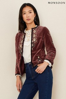 Monsoon Brown Embroidered Velvet Jacket