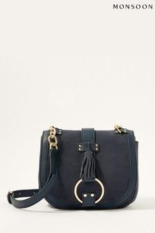 Monsoon Blue Leather Cross-Body Saddle Bag