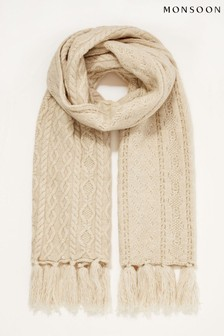 Monsoon Natural Cable Knit Scarf