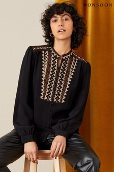 Monsoon Black Embroidered Long Sleeve Blouse