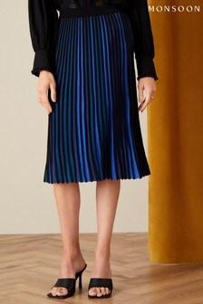 Monsoon Blue Ceiros Colourblock Pleated Skirt