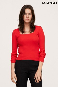 Mango Red Ribbed Knit Sweater