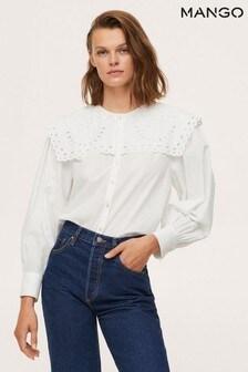 Mango Womens White Babydoll Collar Blouse