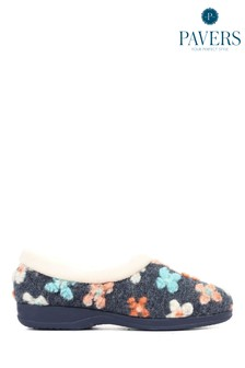 Pavers Blue Ladies Full Slippers with Flower Embellishment