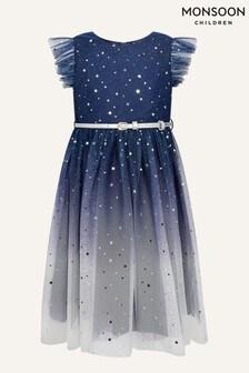 Monsoon Younger Girls Blue Star Print Ombre Dress