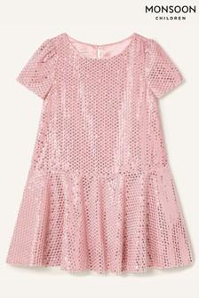 Monsoon Younger Girls Pink Sequin Velour Dress