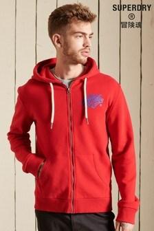 Superdry Red Script Style College Zip Hoodie