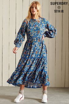 Superdry BlueWoven Long Sleeved Ditsy Midi Dress