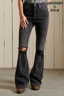Superdry Grey High Rise Skinny Flare Jeans