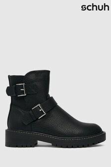 Schuh Black Wide Fit Ashley Biker Boots