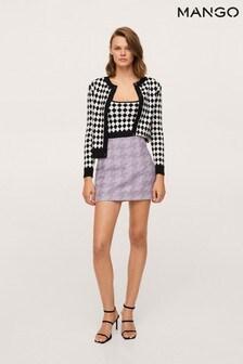 Mango Purple Houndstooth Miniskirt
