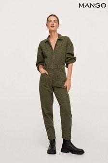 Mango Womens Green Long Denim Jumpsuit