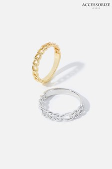 Accessorize Gold Mix Plating Chain Rings