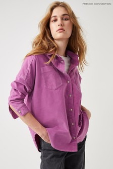 French Connection Purple Paula Micro Cord Rhodes Shacket
