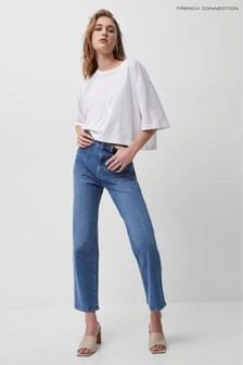 French Connection Blue Robyne Recycled Denim Kickcrop Jeans