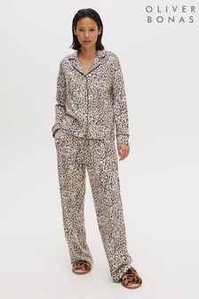 Oliver Bonas Pink Lazy Animal Print Shirt And Trouser Pyjama Set