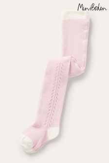 Boden Pink Lace Stitch Tights