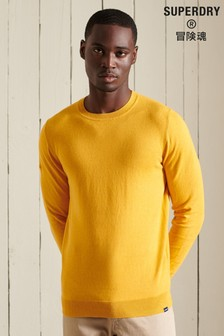 Superdry Yellow Vintage Embroidered Cotton Cashmere Crew Jumper
