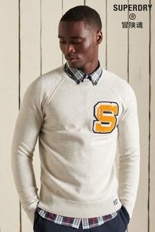 Superdry Grey Varsity Organic Cotton Crew Sweatshirt