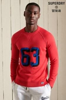 Superdry Red Varsity Organic Cotton Crew Sweatshirt