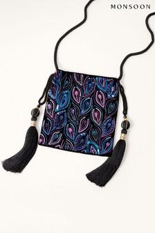 Monsoon Black Peacock Embellished Drawstring Occasion Bag