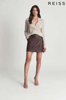 REISS Womens Red Eliza Leather Mini Skirt