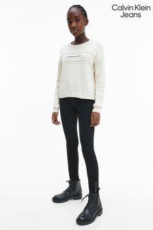 Calvin Klein Jeans Older Girls Black Clean Stretch Jeans