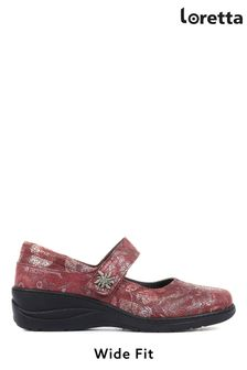 Loretta Ladies Red Leather Wide Fit Mary Jane Shoes