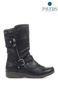 Pavers Ladies Black Calf Boots
