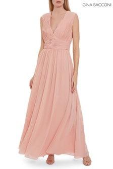 Gina Bacconi Pink Saina Chiffon Maxi Dress