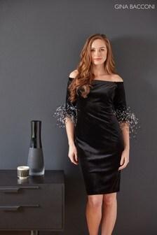 Gina Bacconi Black Jorelle Velvet Feather Trim Dress