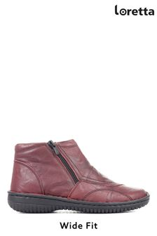 Loretta Red Ladies Wide Fit Leather Ankle Boots