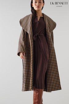 L.K.Bennett Cream Manon Dogtooth Coat