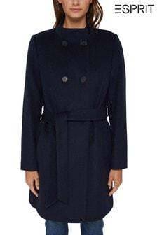 Esprit Blue Double Breasted Basic Coat