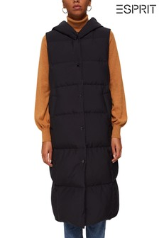 Esprit Black Longline Padded Recycled Down Gilet