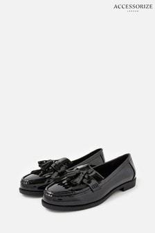 Accessorize Black Patent Fringe Loafers