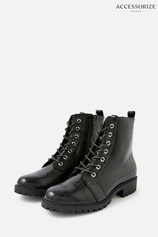 Accessorize Black Croc Print Lace-Up Chunky Boots