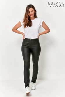 M&Co Black Coated Slim Fit Jeans
