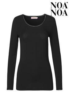 Noa Noa Black Noa Noos Lace Jersey T-Shirt