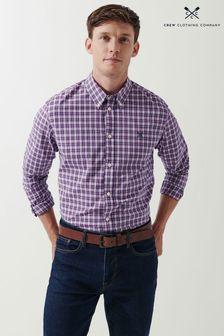Crew Clothing Company Blue LS Slim Mini Check Shirt