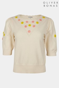 Oliver Bonas White Floral Embroidered Knitted Top