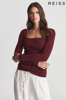 Reiss Red Seren Square Neck Jersey Top